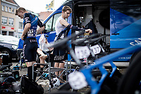 pre race prepping.<br /> <br /> GP Marcel Kint 2019 (BEL)<br /> One Day Race: Kortrijk – Zwevegem 188.10km. (UCI 1.1)<br /> Bingoal Cycling Cup 2019