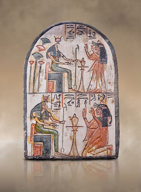 """Ancient Egyptian Ra stele , limestone, New Kingdom, 19th Dynasty, (1279-1190 BC), Deir el-Medina,  Egyptian Museum, Turin. <br /> <br /> Akh iqer en Ra """" the excellent spirit of Ra' stele. One of three stele forund in different rooms of houses in Deir el-Medina where they stood in niches"""