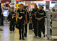 Wednesday 07 August 2013<br /> Pictured L-R: Garry Monk, Ashley Williams and Ashley Richards about to board their plane at Cardiff Airport.<br /> Re: Swansea City FC travelling to Sweden for their Europa League 3rd Qualifying Round, Second Leg game against Malmo.