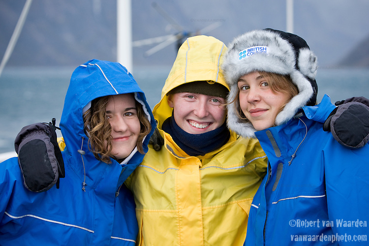Friends. (L-R) Melissa, Sarah and Sarah. Cape Farewell Youth Expedition 08(©Robert vanWaarden ALL RIGHTS RESERVED)