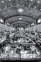 The historic West Side Market in Cleveland, Ohio, Cleveland's oldest public market, has many food vendors under its roof.  The market is located in the Ohio City neighborhood and opened in 1912.