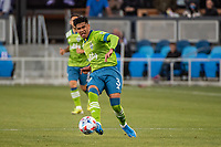 SAN JOSE, CA - MAY 12: Xavier Arreaga #3 of the Seattle Sounders passes the ball during a game between San Jose Earthquakes and Seattle Sounders FC at PayPal Park on May 12, 2021 in San Jose, California.