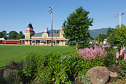 Train depot at Conway Scenic Railroad in North Conway, New Hampshire USA. The Conway Scenic Railroad is a major tourist attraction in the White Mountains.