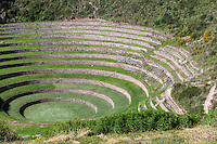 Peru, Moray, Urubamba Valley.  An Inca Agricultural Experimental Site.  Heavy Rains in 2010 caused serious damage.  Wooden braces support terrace walls until permanent repairs can be accomplished.