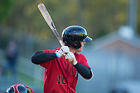 Mitch Roman (10) of the Kannapolis Intimidators at bat against the Lakewood BlueClaws at Kannapolis Intimidators Stadium on April 8, 2017 in Kannapolis, North Carolina.  The BlueClaws defeated the Intimidators 8-4 in 10 innings.  (Brian Westerholt/Four Seam Images)