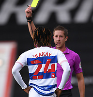 17th October 2020; Vitality Stadium, Bournemouth, Dorset, England; English Football League Championship Football, Bournemouth Athletic versus Queens Park Rangers; Osman Kakay of Queens Park Rangers receives a yellow card after fouling Adam Smith of Bournemouth
