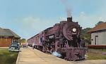 """Soo Line passenger train readying to leave the station at Stanley, Wisconsin, circa early 1950's. Oil on canvas, 19.5"""" x 32""""."""