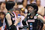 (L-R) Haruka Miyashita, Chizuru Koto (JPN), AUGUST 27, 2015 - Volleyball : FIVB Women's World Cup 2015 1st Round between Japan 3-2 Dominican Republic  in Tokyo, Japan. (Photo by Sho Tamura/AFLO SPORT)