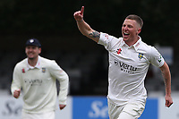 Brydon Carse of Durham celebrates taking the wicket of Ryan ten Doeschate during Essex CCC vs Durham CCC, LV Insurance County Championship Group 1 Cricket at The Cloudfm County Ground on 15th April 2021