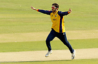 Aron Nijjar of Essex celebrates taking the wicket of Hashim Amla during Essex Eagles vs Surrey, Vitality Blast T20 Cricket at The Cloudfm County Ground on 11th September 2020