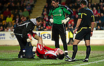 St Johnstone v Brechin....22.03.11  Scottish Cup Quarter Final replay.Paul McLean lies injured unable to recover he was subbed.Picture by Graeme Hart..Copyright Perthshire Picture Agency.Tel: 01738 623350  Mobile: 07990 594431