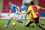 St Johnstone v Partick Thistle…11.02.17     Scottish Cup    McDiarmid Park<br />Brain Easton evades David Amoo<br />Picture by Graeme Hart.<br />Copyright Perthshire Picture Agency<br />Tel: 01738 623350  Mobile: 07990 594431