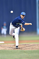Asheville Tourists pitcher Nate Harris (14) delivers a pitch during a game against the Rome Braves at McCormick Field on June 7, 2018 in Asheville, North Carolina. The Braves defeated the Tourists 8-6. (Tony Farlow/Four Seam Images)