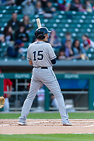 Columbus Clippers third baseman Ryan Flaherty (15) during an International League game against the Indianapolis Indians on April 29, 2019 at Victory Field in Indianapolis, Indiana. Indianapolis defeated Columbus 5-3. (Zachary Lucy/Four Seam Images)