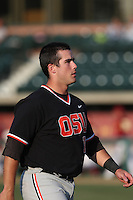 Dylan Davis #10 of the Oregon State Beavers during a game against the Southern California Trojans at Dedeaux Field on May 23, 2014 in Los Angeles, California. Southern California defeated Oregon State, 4-2. (Larry Goren/Four Seam Images)