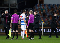 17th February 2021; The Kiyan Prince Foundation Stadium, London, England; English Football League Championship Football, Queen Park Rangers versus Brentford; Brentford Manager Thomas Frank confronts Charlie Austin of Queens Park Rangers after full time