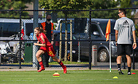 Zarah Taillieu (11) of Belgium sprints during the warm up before an international friendly female soccer game between the national teams of Belgium , called the Red Flames U17 and the Netherlands on Wednesday 8th of September 2020  in Kalmthout , Belgium . PHOTO SPORTPIX.BE | SPP | SEVIL OKTEM