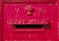 A Victorian mailbox, England. architectural detail, antique. England.