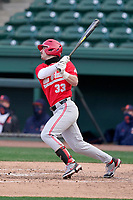 Designated hitter Sam Wilson (33) of the Ohio State Buckeyes bats in a game against the Illinois Fighting Illini on Friday, March 5, 2021, at Fluor Field at the West End in Greenville, South Carolina. (Tom Priddy/Four Seam Images)