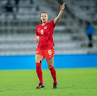 ORLANDO, FL - FEBRUARY 21: Samantha Chang #8 of Canada yells to a teammate during a game between Canada and Argentina at Exploria Stadium on February 21, 2021 in Orlando, Florida.