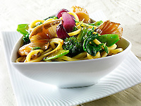 Oriental vegetarian stir fry of vegetables, noodle and mushrooms
