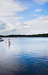 Middlebury, CT- 10 August 2015-081015CM01-  Bethany Campbell of Watertown, takes her daughter Julia Campbell, 6, on a paddle board ride at Lake Quassapaug Outing Club in Middlebury on Monday afternoon.  According to the National Weather Service, Tuesday's weather is expected to be a bit different than Monday, with the likely hood of rain and possibly a thunderstorm.   Highs are expected to be near 80.  Christopher Massa Republican-American