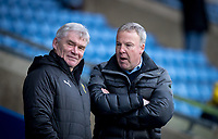 Portsmouth manager Kenny Jackett talks to Oxford United coach Derek Fazackerley during the Sky Bet League 1 match between Oxford United and Portsmouth at the Kassam Stadium, Oxford, England on 19 January 2019. Photo by Andy Rowland.