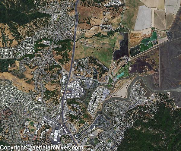 aerial photo map of San Rafael, California