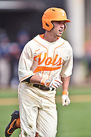 Tennessee Volunteers second baseman Jeff Moberg (6) runs to first during game one of a double header against the UC Irvine Anteaters at Lindsey Nelson Stadium on March 12, 2016 in Knoxville, Tennessee. The Volunteers defeated the Anteaters 14-4. (Tony Farlow/Four Seam Images)