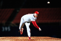 Curt Schilling of the Philadelphia Phillies participates in a Major League Baseball game at Dodger Stadium during the 1998 season in Los Angeles, California. (Larry Goren/Four Seam Images)