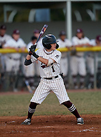 Braden River Pirates third baseman Landon Kiefer (1) bats during a game against the Venice Indians on February 25, 2021 at Braden River High School in Bradenton, Florida. (Mike Janes/Four Seam Images)
