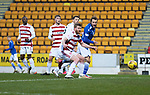 St Johnstone v Hamilton Accies…30.12.20   McDiarmid Park     SPFL<br />Stevie May's glancing header goes wide<br />Picture by Graeme Hart.<br />Copyright Perthshire Picture Agency<br />Tel: 01738 623350  Mobile: 07990 594431