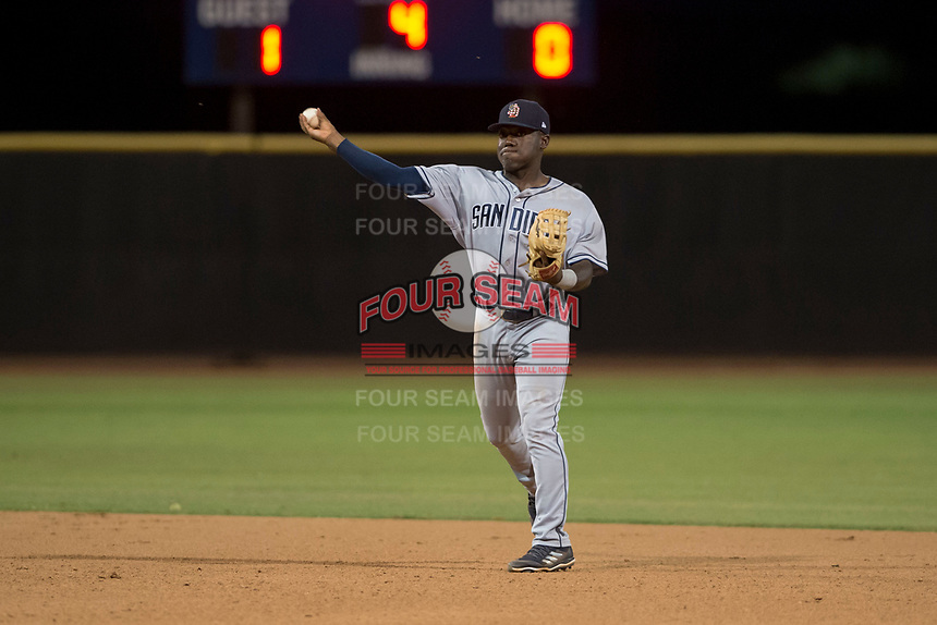 AZL Padres 1 second baseman Lee Solomon (28) makes a throw to first base during an Arizona League game against the AZL Padres 2 at Peoria Sports Complex on July 14, 2018 in Peoria, Arizona. The AZL Padres 1 defeated the AZL Padres 2 4-0. (Zachary Lucy/Four Seam Images)