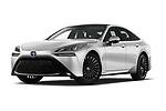 Stock pictures of low aggressive front three quarter view of 2021 Toyota Mirai Executive 4 Door Sedan Low Aggressive