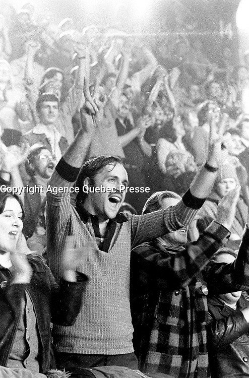 November 15 1976 File photo - Montreal , Quebec,  CANADA - Suupporters applaud while  Candidates of the Parti Quebecois celebrate the 1976 victory with the party leader Rene Levesque , November 15 1976 at Centre Paul Sauve.