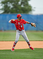 Doral Academy Firebirds second baseman Manny Marin (4) during the IMG National Classic on March 29, 2021 at IMG Academy in Bradenton, Florida.  (Mike Janes/Four Seam Images)