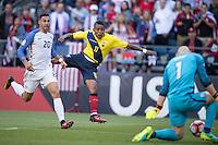 Action photo during the match United States vs Ecuador at CenturyLink Field Stadium Copa America Centenario 2016. ---Foto  de accion durante el partido Estados Unidos En el Estadio CenturyLink Field. Partido Correspondiante a los Cuartos de Final de la Copa America Centenario USA 2016, en la foto: (i)-(d) Fabian Johnson, Michael Arroyo<br /> <br /> --- - 16/06/2016/MEXSPORT/Omar Martinez.