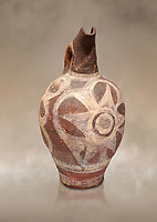 Minoan decorated Kamares  style jug with star design, Poros cemetery 1800-1650 BC; Heraklion Archaeological  Museum.