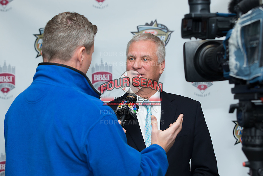Dan Rajkowski, Executive Vice President and Chief Operating Officer of the Charlotte Knights, is interviewed following a press conference at BB&T Ballpark on February 17, 2016 in Charlotte, North Carolina.  (Brian Westerholt/Four Seam Images)