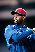 Willie Greene of the Toronto Blue Jays during a game against the Anaheim Angels at Angel Stadium circa 1999 in Anaheim, California. (Larry Goren/Four Seam Images)