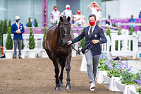 BEL-Domien Michiels presents Intermezzo Van Het Meerda during the 1st Horse Inspection for the Dressage at the Equestrian Park. Tokyo 2020 Olympic Games. Friday 23 July 2021. Copyright Photo: Libby Law Photography