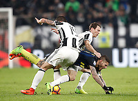 Calcio, Serie A: Torino, Juventus Stadium, 5 febbraio 2017.<br /> Juventus' Leonardo Bonucci (l) and Stephan Lichtsteiner (r) in action with Inter Milan's Mauro Icardi (c) during the Italian Serie A football match between Juventus and Inter Milan at Turin's Juventus Stadium, on February 5, 2017.<br /> UPDATE IMAGES PRESS/Isabella Bonotto