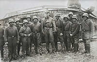 BNPS.co.uk (01202) 558833. <br /> Pic: ZeitgeistToursLtd/BNPS<br /> <br /> Pictured:A German tank crew pose for a picture with 'Heinz' Beutetank Mark IV, lost on 1 June 1918. <br /> <br /> Never-before-seen photos of the first time the Germans used captured British tanks against Allied soldiers have come to light on the 103rd anniversary of the battle. <br /> <br /> The British were the first to invent the tank in 1916 and a year later used them to overwhelm the enemy at the Battle of Cambrai in the First World War.<br /> <br /> Although the battle was a success for the British, the Germans captured several Mark IV tanks.<br /> <br /> Rather than build their own from scratch, the Germans adapted the British ones to suit their needs.