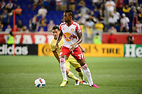 Harrison, NJ - Wednesday July 06, 2016: Junior Flemmings during a friendly match between the New York Red Bulls and Club America at Red Bull Arena.