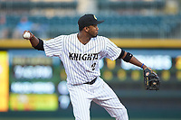 Charlotte Knights third baseman Alcides Escobar (2) on defense against the Toledo Mud Hens at BB&T BallPark on April 24, 2019 in Charlotte, North Carolina. The Knights defeated the Mud Hens 9-6. (Brian Westerholt/Four Seam Images)