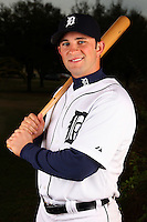 February 27, 2010:  Outfielder Casper Wells (57) of the Detroit Tigers poses for a photo during media day at Joker Marchant Stadium in Lakeland, FL.  Photo By Mike Janes/Four Seam Images