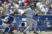 Tim Raines of the Florida Marlins bats during a 2002 MLB season game against the Los Angeles Dodgers at Dodger Stadium, in Los Angeles, California. (Larry Goren/Four Seam Images)