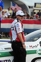Sept. 5, 2011; Claremont, IN, USA: NHRA crew member Danny Hood for funny car driver Mike Neff during the US Nationals at Lucas Oil Raceway. Mandatory Credit: Mark J. Rebilas-