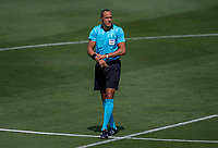 LOS ANGELES, CA - AUGUST 22: Ismail Elfath center ref during a game between Los Angeles Galaxy and Los Angeles FC at Banc of California Stadium on August 22, 2020 in Los Angeles, California.