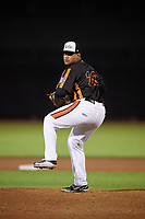Aberdeen IronBirds relief pitcher Juan Echevarria (29) delivers a pitch during a game against the Staten Island Yankees on August 23, 2018 at Leidos Field at Ripken Stadium in Aberdeen, Maryland.  Aberdeen defeated Staten Island 6-2.  (Mike Janes/Four Seam Images)
